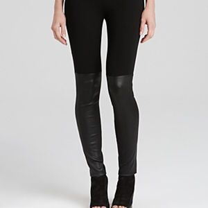 Vince Mixed Media Leather Trimmed Leggings NWT